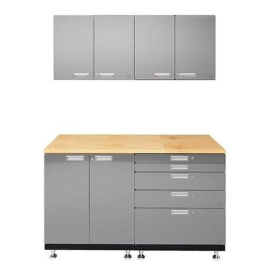 "Hercke HC-Kit 4-S72 (24""D x 60""W x 84""H) Basic Work Center Garage Cabinet System in stainless steel finish shown in front view."