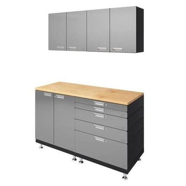 "Hercke HC-Kit 4-S72 (24""D x 60""W x 84""H) Basic Work Center Garage Cabinet System in stainless steel finish shown in side view."