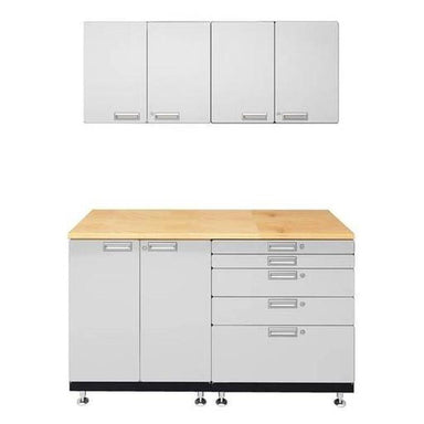 "Hercke HC-Kit 4-S73 (24""D x 60""W x 84""H) Basic Work Center Garage Cabinet System in powder coat finish shown in front view."