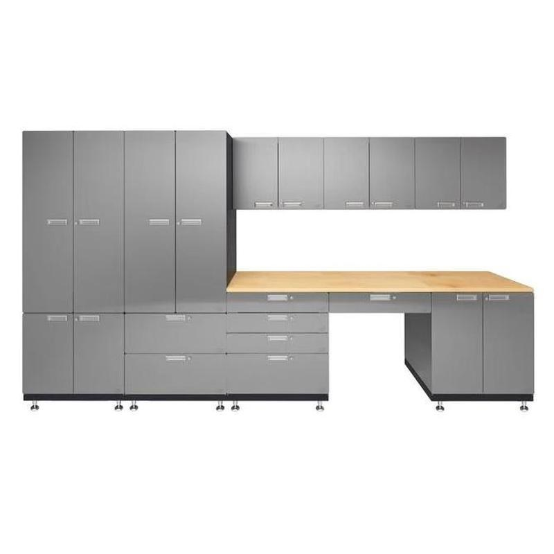 "Hercke HC-Kit 5-S72 (24""D x 150""W x 84""H) Storage Desk Garage Cabinet System in stainless steel finish shown in front view."