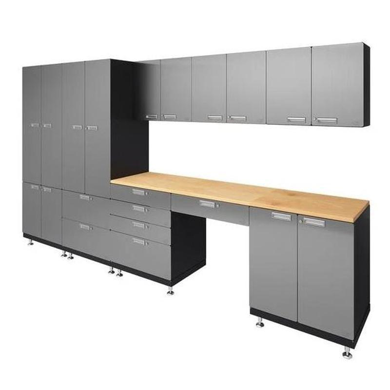 "Hercke HC-Kit 5-S72 (24""D x 150""W x 84""H) Storage Desk Garage Cabinet System in stainless steel finish shown in side view."