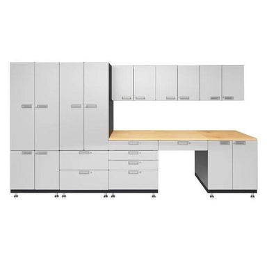 "Hercke HC-Kit 5-S73 (24""D x 150""W x 84""H) Storage Desk Garage Cabinet System in powder coat finish shown in front view."