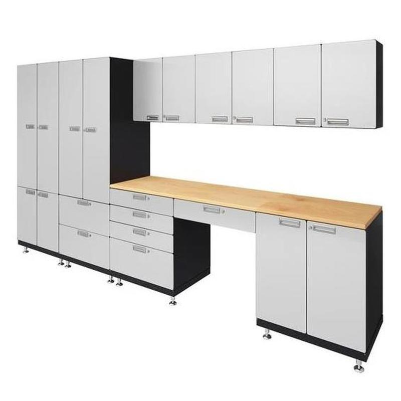 "Hercke HC-Kit 5-S73 (24""D x 150""W x 84""H) Storage Desk Garage Cabinet System in powder coat finish shown in side view."