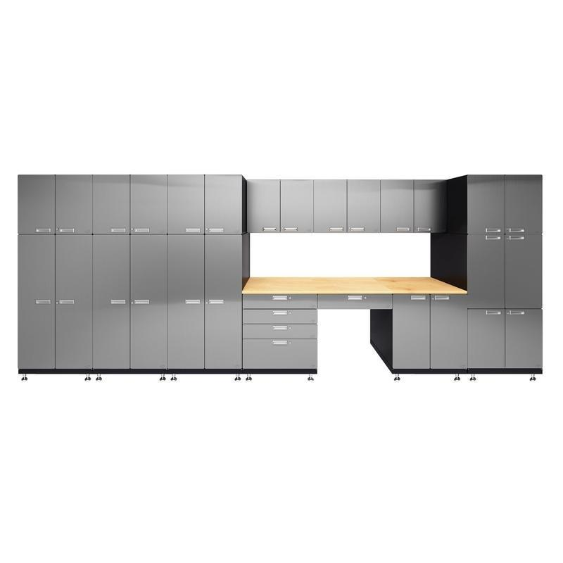 "Hercke HC-Kit 6-S72 (24""D x 210""W x 84""H) Double Storage Desk Garage Cabinet System in stainless steel finish shown in front view."