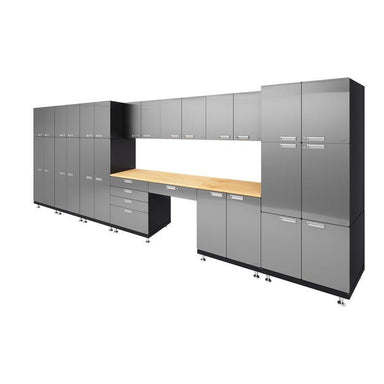 "Hercke HC-Kit 6-S72 (24""D x 210""W x 84""H) Double Storage Desk Garage Cabinet System in stainless steel finish shown in side view."