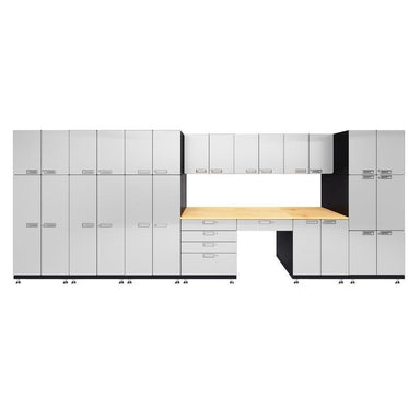 "Hercke HC-Kit 6-S73 (24""D x 210""W x 84""H) Double Storage Desk Garage Cabinet System in powder coat finish shown in front view."