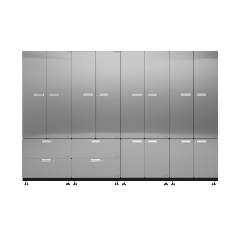 "Hercke HC-Kit 7-S72 (24""D x 120""W x 84""H) Locker Wall Garage Cabinet System in stainless steel finish shown in front view."