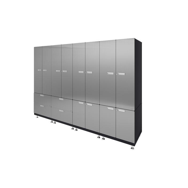"Hercke HC-Kit 7-S72 (24""D x 120""W x 84""H) Locker Wall Garage Cabinet System in stainless steel finish shown in side view."
