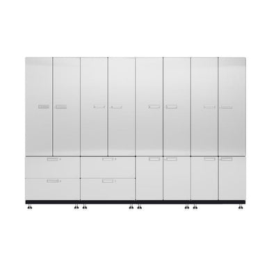 "Hercke HC-Kit 7-S73 (24""D x 120""W x 84""H) Locker Wall Garage Cabinet System in powder coat finish shown in front view."