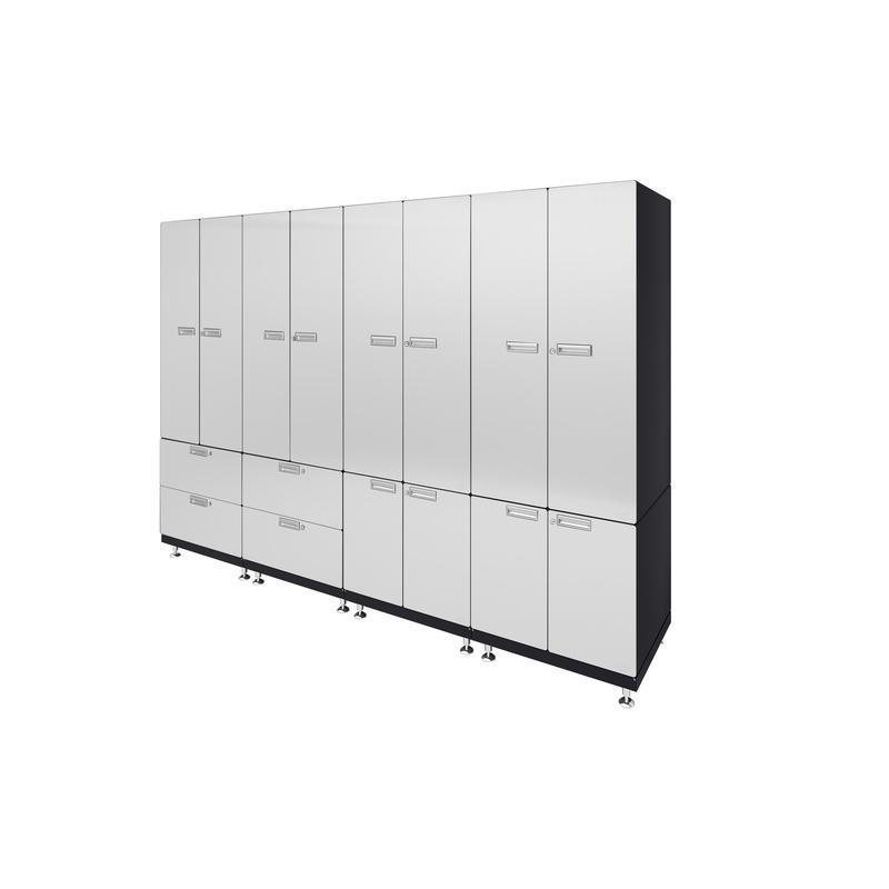 "Hercke HC-Kit 7-S73 (24""D x 120""W x 84""H) Locker Wall Garage Cabinet System in powder coat finish shown in side view."