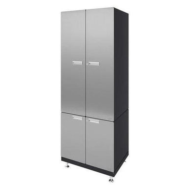 "Hercke HC-Kit 8-S72 (24""D x 30""W x 84""H) Storage Tower Garage Cabinet System in stainless steel finish shown in side view."