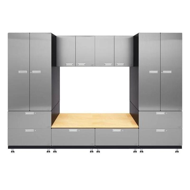 "Hercke HC-Kit 9-S72 (24""D x 120""W x 84""H) Storage Bench Garage Cabinet System in stainless steel finish shown in front view."