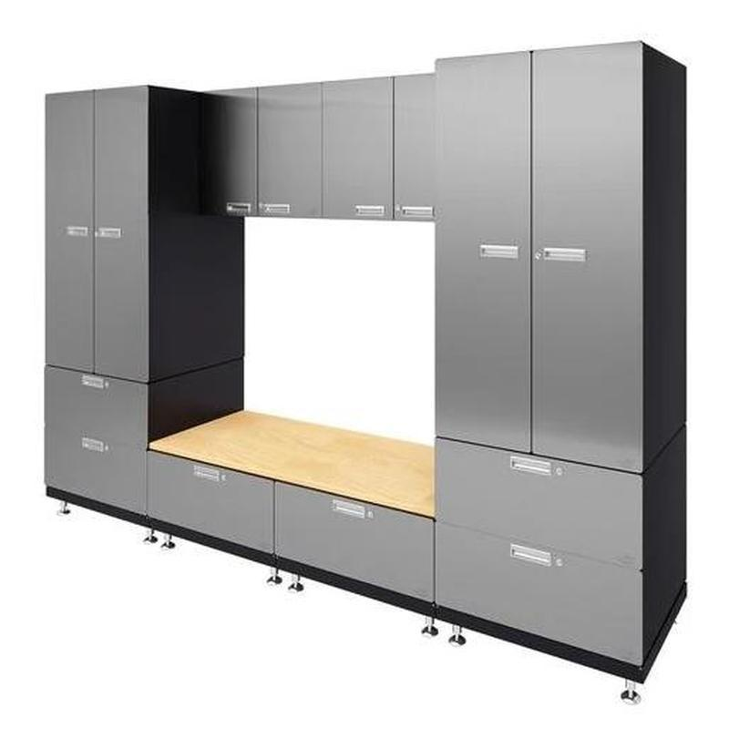 "Hercke HC-Kit 9-S72 (24""D x 120""W x 84""H) Storage Bench Garage Cabinet System in stainless steel finish shown in side view."