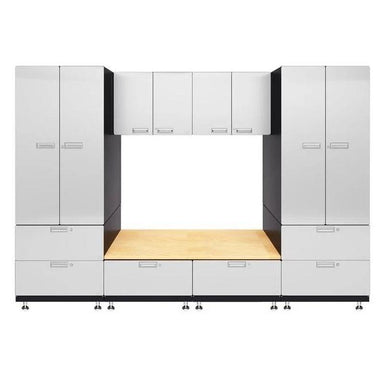 "Hercke HC-Kit 9-S73 (24""D x 120""W x 84""H) Storage Bench Garage Cabinet System in powder coat finish shown in front view."