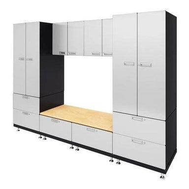 "Hercke HC-Kit 9-S73 (24""D x 120""W x 84""H) Storage Bench Garage Cabinet System in powder coat finish shown in side view."