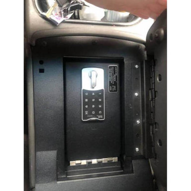 Locker Down LD2003 vehicle console safe for Chevrolet 2003-2007 and GMC 2003-2008 viewed from top inside center console.