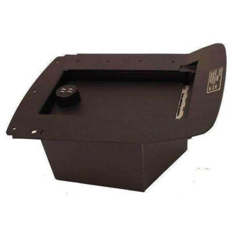 Locker Down LD2003 vehicle console safe for Chevrolet 2003-2007 and GMC 2003-2011 viewed from the left-horizontal.