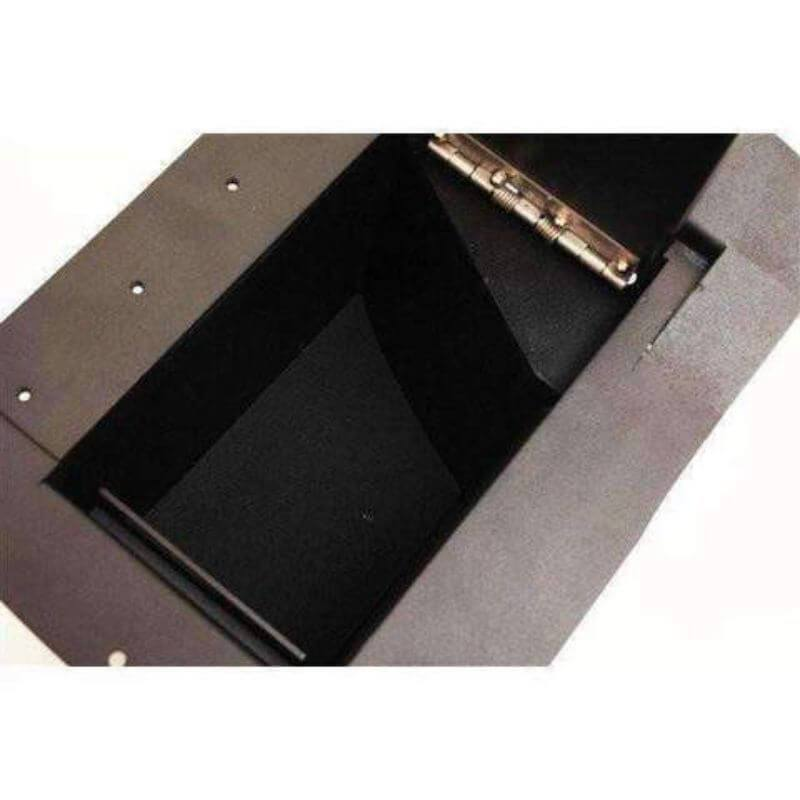 Locker Down LD2003 vehicle console safe for Chevrolet 2003-2007 and GMC 2003-2012 viewed from top open lid closer.