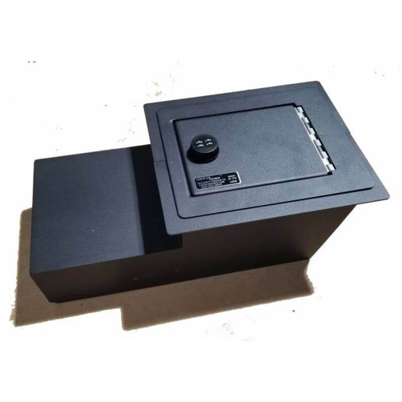 Locker Down LD2004 vehicle console safe for Chevrolet 1973-1991 and GMC 1973-1991 viewed from top-horizontal.