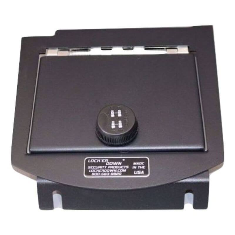 Locker Down LD2011E vehicle console safe for Chevrolet 2007-2014 and GMC 2007-2014 viewed from top.