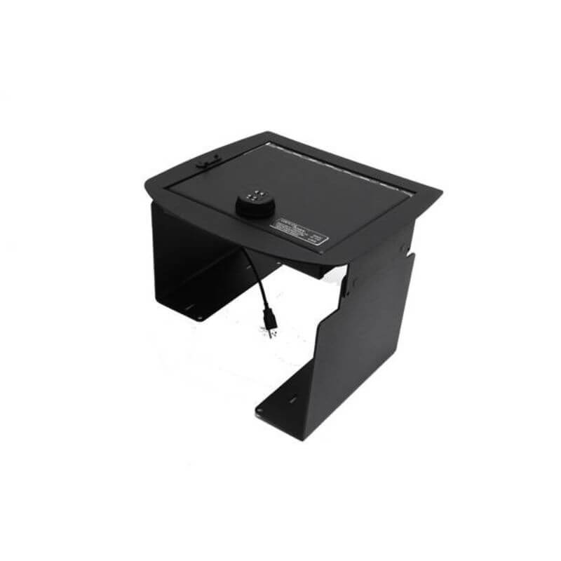 Locker Down LD2011E vehicle console safe for Chevrolet 2007-2014 and GMC 2007-2016 viewed from top to bottom.