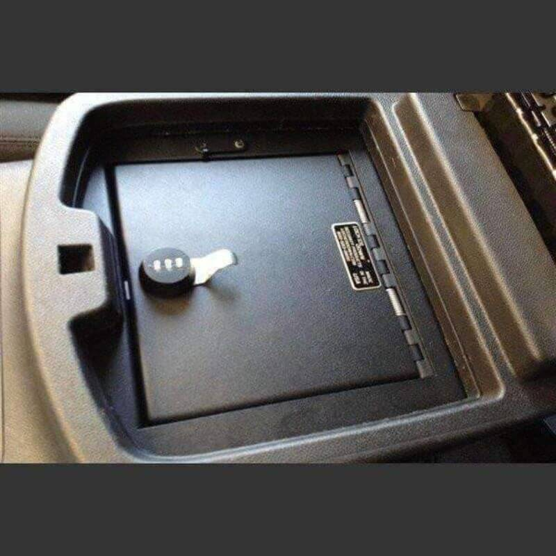 Locker Down LD2011X vehicle console safe for Chevrolet 2007-2014 and GMC 2007-2014 viewed inside the center console.