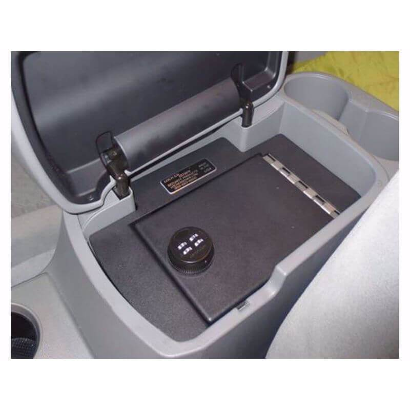 Locker Down LD2012EX vehicle console safe for Toyota Tacoma 2005-2015 viewed form top inside center console.