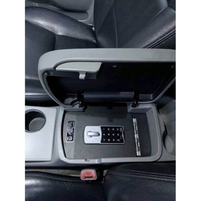 Locker Down LD2012EX vehicle console safe for Toyota Tacoma 2005-2015 viewed form top inside center console with covered open.