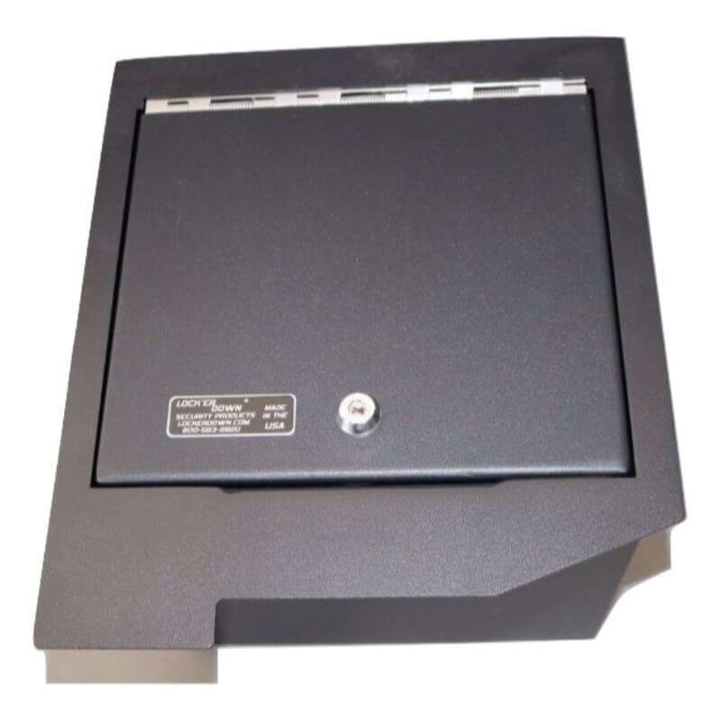 Locker Down LD2013 vehicle console safe for Toyota Sequoia and Tundra 2008-2013 viewed from the top.
