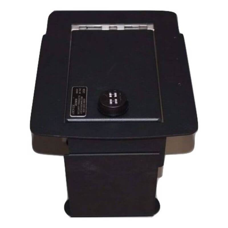 Locker Down LD2017 vehicle console safe for Ford Excursion, F-250, F-350, and F450, 2000-2007 viewed from top.