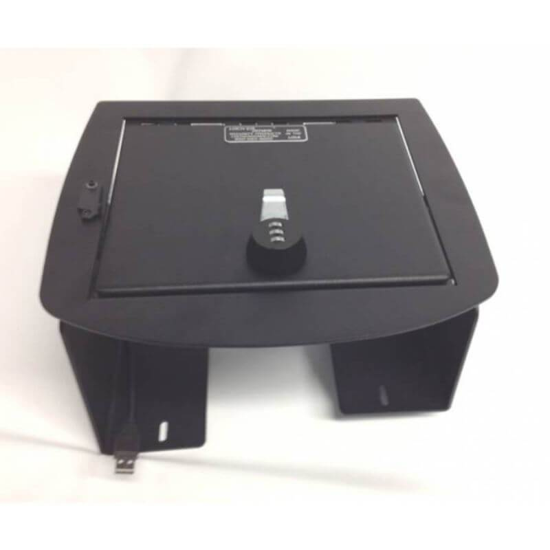 Locker Down LD2019EX vehicle console safe for Chevrolet Avalanche 2007-2013 viewed from top.