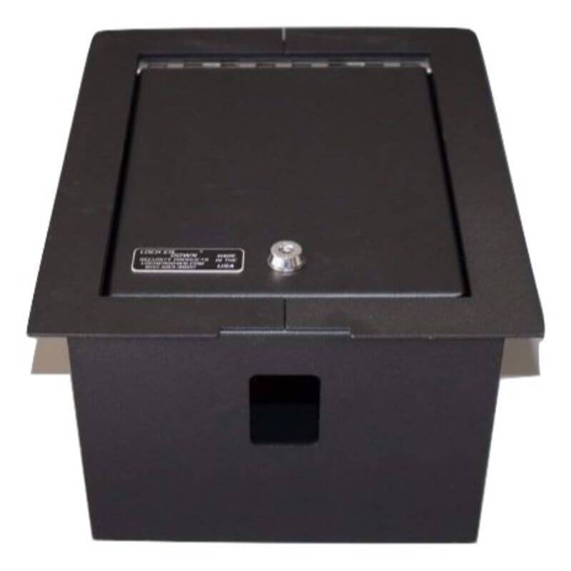 Locker Down LD2020 vehicle console safe for Ford F-250, F-350, F-450 2008-2010 viewed from left with open lid.
