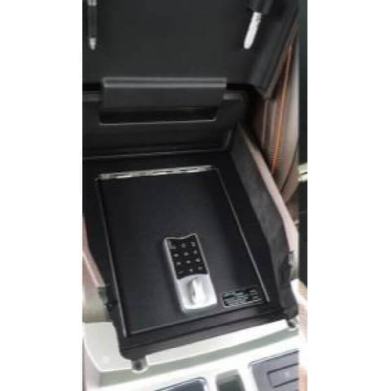 Locker Down LD2025EX vehicle console safe for Ford	F-150 2009-2014 viewed from top with open lid.