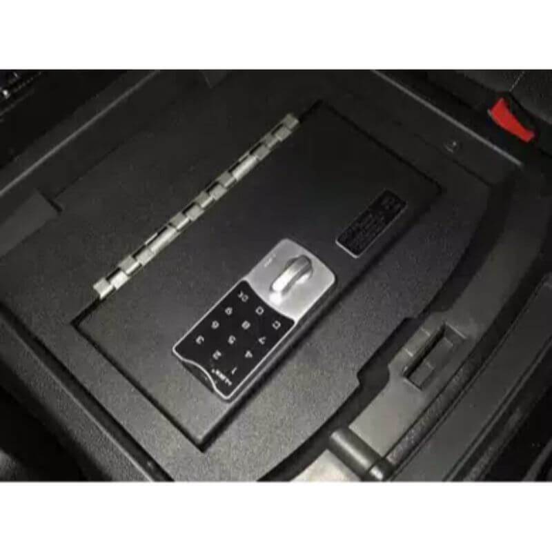 Locker Down LD2028 vehicle console safe for Dodge Ram 2009-2018 viewed from the top cover inside the center console.