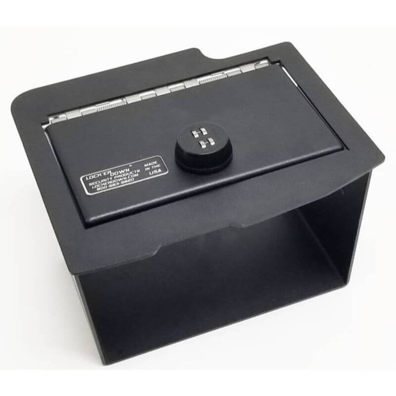 Locker Down LD2028CDEX vehicle console safe for Dodge Ram 2013-2018 viewed from the top.