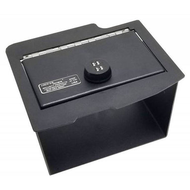 Locker Down LD2028EX vehicle console safe for Dodge Ram 2009-2018 viewed from the top with the handle.