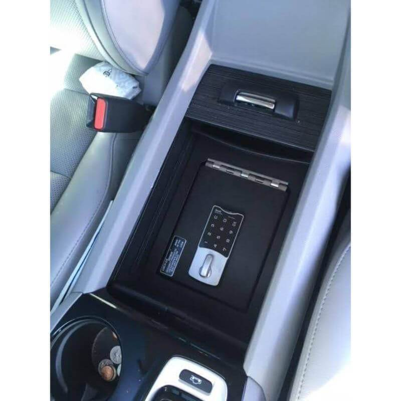 Locker Down LD2030 vehicle console safe for Honda Passport, Pilot, Ridgeline 2016-2020 viewed from the top inside the center console.