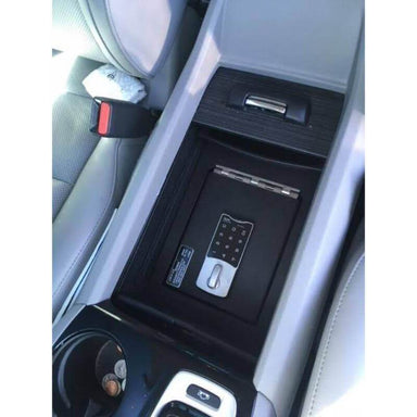 Locker Down LD2030EX vehicle console safe for Honda Passport, Pilot, Ridgeline 2016-2020 viewed from the top inside the center console.