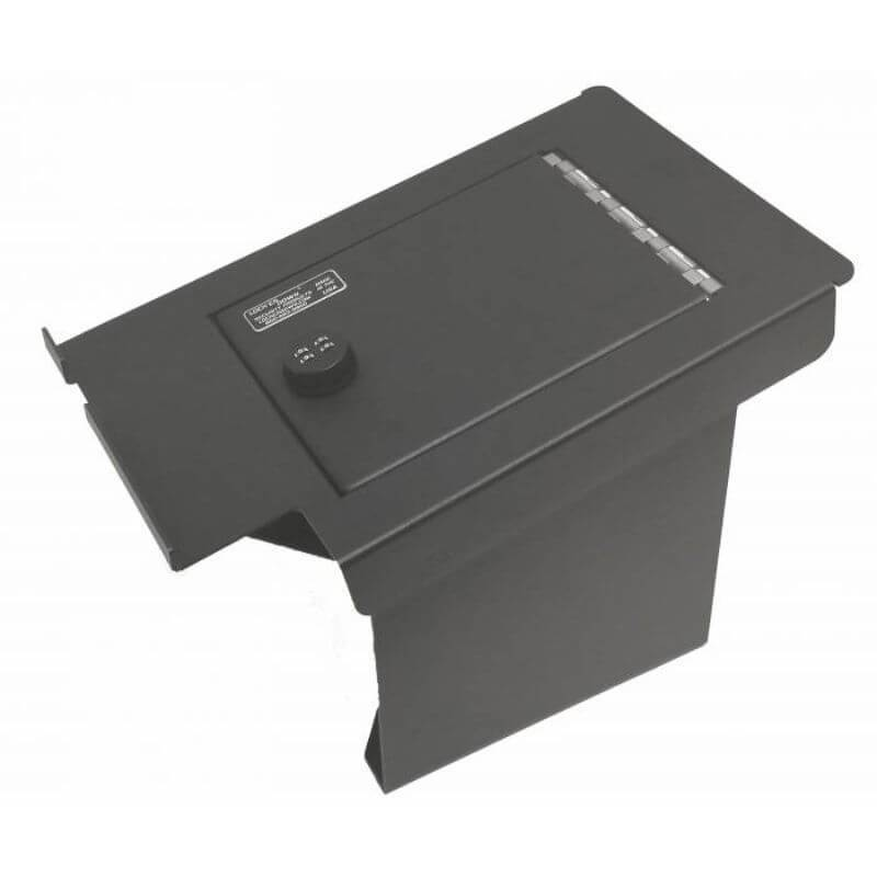 Locker Down LD2034 vehicle console safe for Ford F-250, F-350, F-450 2011-2016 viewed from the top going to tha back with the handle.
