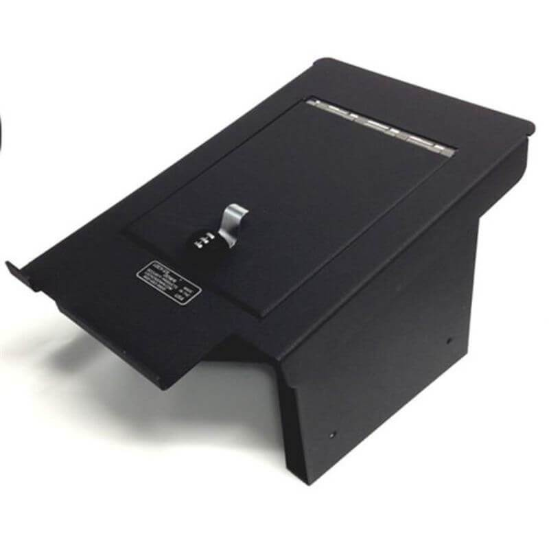 Locker Down LD2034 vehicle console safe for Ford F-250, F-350, F-450 2011-2016 viewed from the top horizontal.