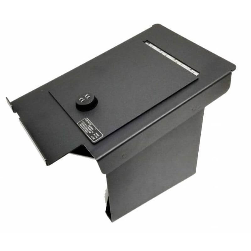 Locker Down LD2034EX vehicle console safe for Ford F-250, F-350, F450 2011-2016 viewed from the top going to tha back with the handle.