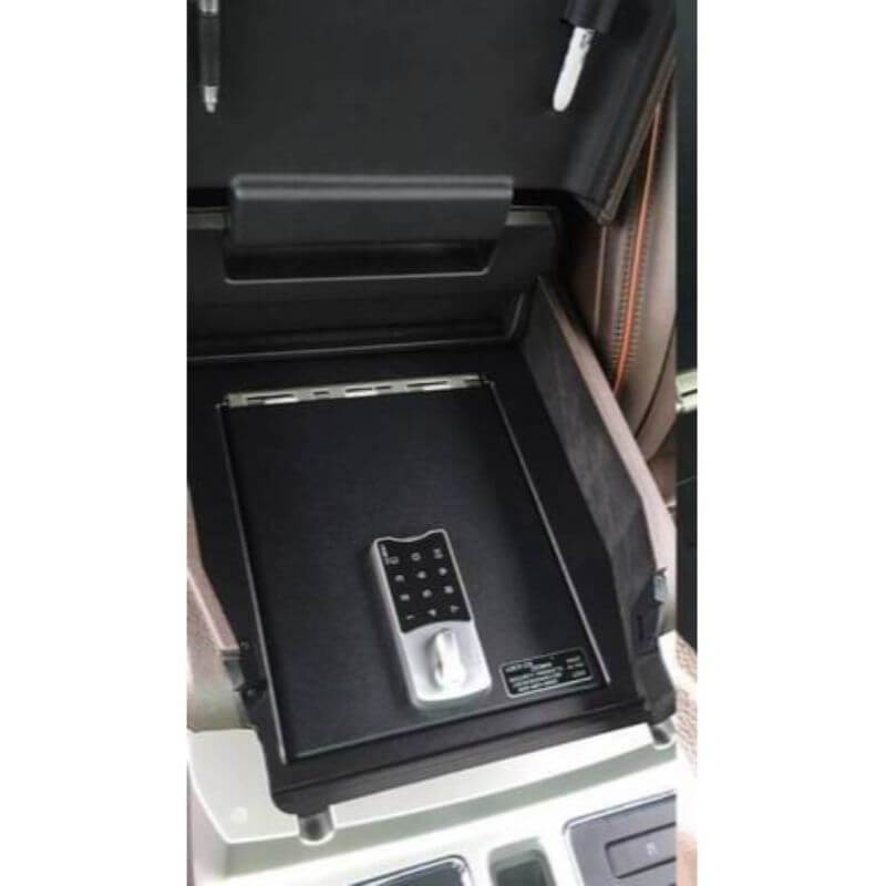 Locker Down LD2034EX vehicle console safe for Ford F-250, F-350, F450 2011-2016 viewed from the top cover of the console safe.