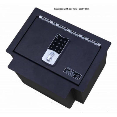 Locker Down LD2040 vehicle console safe for Chevrolet Silverado and GMC Sierra 2014-2019 viewed from the top cover equipped by new i-lock.