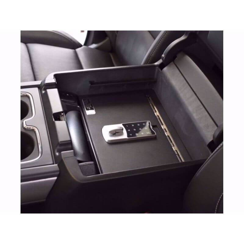 Locker Down LD2040EX vehicle console safe for Chevrolet Silverado and GMC Sierra 2014-2019 viewed from the top cover inside center console safe.