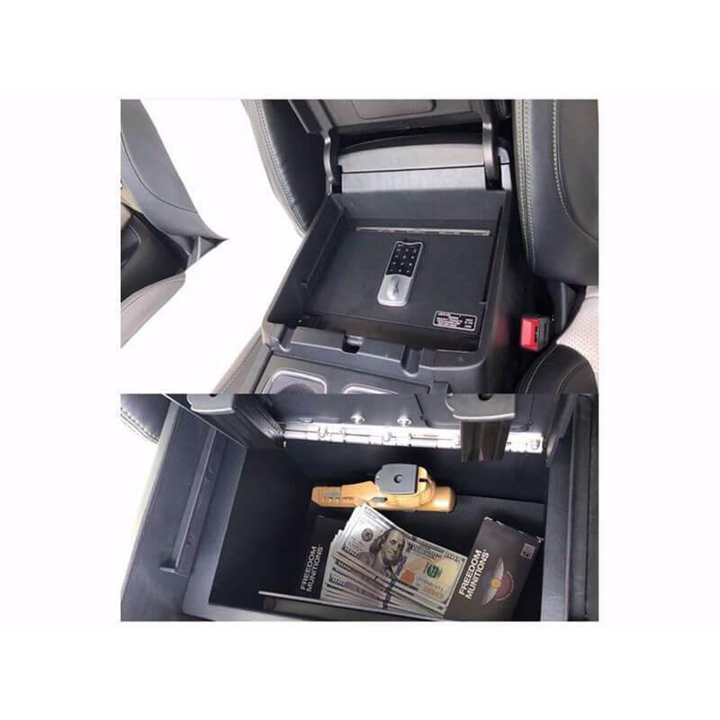 Locker Down LD2040EX vehicle console safe for Chevrolet Silverado and GMC Sierra 2014-2019 viewed from the top cover inside center console safe eqipped by new i-lock.
