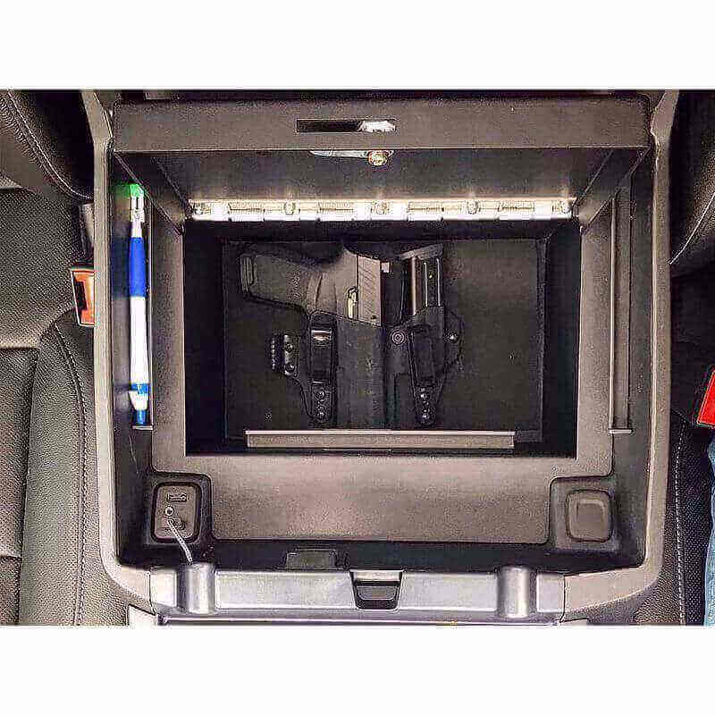 Locker Down LD2040EX vehicle console safe for Chevrolet Silverado and GMC Sierra 2014-2019 viewed from the top open lid.
