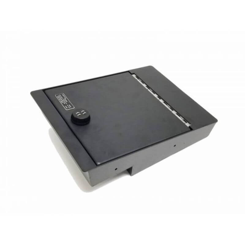 Locker Down LD2041 vehicle console safe for Chevrolet Silverado and GMC Sierra 2014-2018 viewed from the top cover.