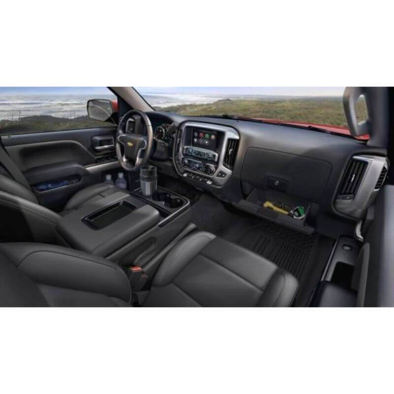 Locker Down LD2041 vehicle console safe for Chevrolet Silverado and GMC Sierra 2014-2018 viewed inside the car with center console safe.