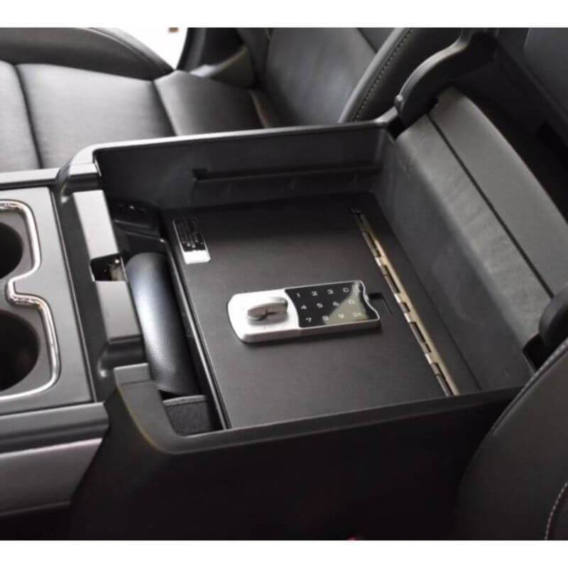 Locker Down LD2042 vehicle console safe for Chevrolet Silverado and GMC Sierra 2014-2020 viewed from the top cover equipped with the new i-lock.