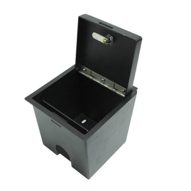 Locker Down LD2047 vehicle console safe for Toyota Tacoma 2016-2020 viewed from the open lid.